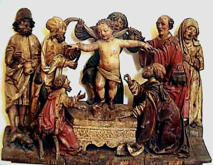 Sengotisk malt treskuptur som viser Simons angivelige martyrium. Under hans venstre fot står et fat klart til å fange opp hans blod. Skulpturen befinner seg i dag i bispedømmemuseet i Trento.